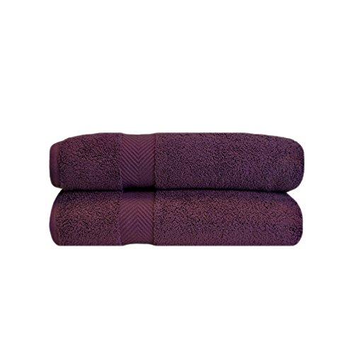 Superior Zero Twist 100% Cotton Bathroom Towels, Super Soft, Fluffy, and Absorbent, Premium Quality Bath Towel Set of 2 - Grape Seed, 30