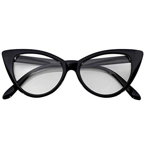 Classic Vintage Cat Eye Clear Lens Sunglasses Black Frame -