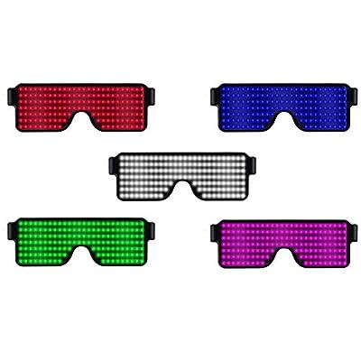 Gereton LED Rechargeable Luminous Glasses 8 Modes Quick Flash Party Glasses USB Rechargeable Luminous Glasses Sultablefor Parties, Dances, Concerts, Nightclub Birthday Parties