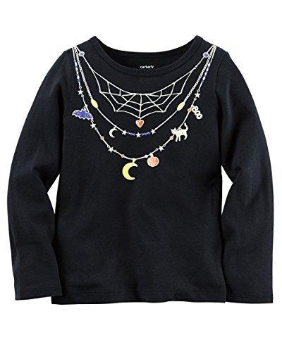 Carters Girl Long-Sleeve Halloween Tee (12 Months, Black)