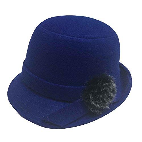 JTC Wool Women Bowler Hat Blue