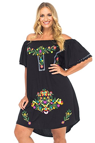 Back From Bali Womens Plus Size Mexican Embroidered Dress Off The