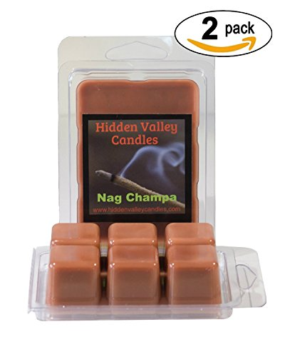 Nag Champa Double Scented Wax Melts. Renowned for its earthy scent, it contains Juniper, Patchouli and Vanilla. Satya Sai Baba Nag Champa (agarbatti) incense from India. You will receive 2 packs for a total 12 cubes which will throw 50+ hours of fragrance when melted in Scentsy®, Yankee Candle® or standard electric tart warmer.