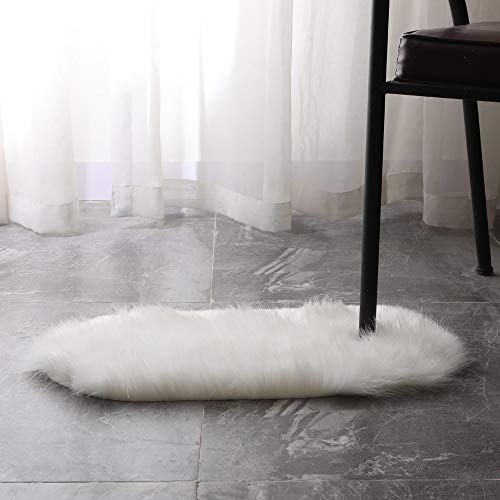 Chezaa Soft Rug Chair Cover Artificial Sheepskin Wool Warm Hairy Carpet Seat Mats Rug Different Sizes (White, S-11.8''X21.6'')