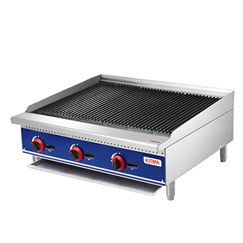 Commercial Countertop Radiant CharBroiler - KITMA 36 Inches Natural Gas Char Broiler with Grill - Restaurant Equipment for Barbecue