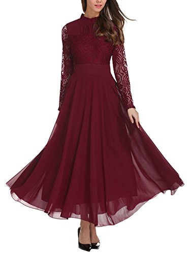 Milumia Women's Vintage Floral Lace Long Sleeve Ruched Neck Flowy Long Dress,Burgundy L (Jewelry To Wear With Lace Wedding Dress)