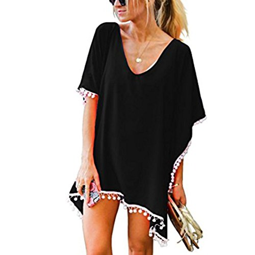 ,Jushye Ladies Casual Pom Pom Trim Kaftan Chiffon Swimwear Beach Plus Size Bikini Cover Up (S, Black) ()