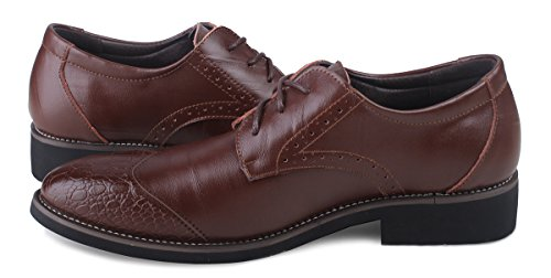 Oxfords Lace Kunsto up Brogue Men's Shoes Brown Leather q7qxE6nrZ