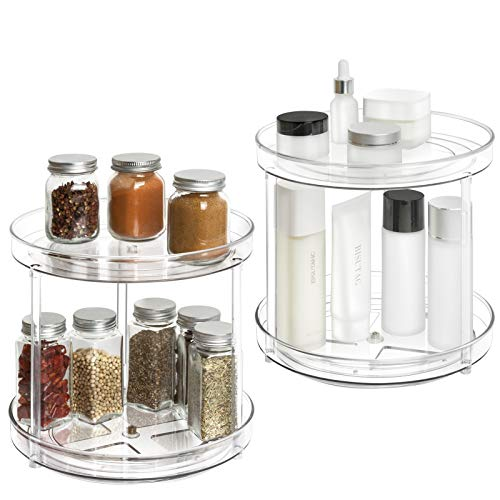 2 Tier Lazy Susan – 2 Pack Plastic Clear Spinning Organization & Storage Container Bin 9 Inch Round Turntable Condiments…