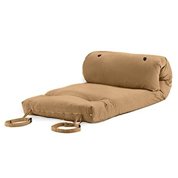 Pebble Beige Cotton Twill Brooklyn Roll Up Camping Futon