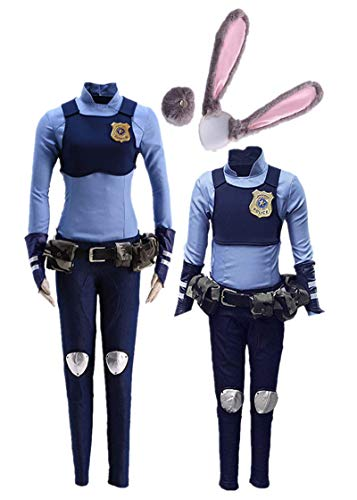 Zootopia Judy Hopps Rabbit Police Cosplay Costume Halloween (Female 3XL) Blue]()