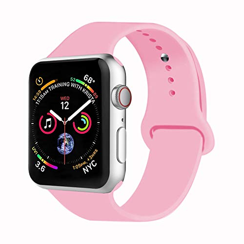 VATI Sport Band Compatible with Watch Band 38mm 42mm 40mm 44mm, Soft Silicone Strap Replacement Bands Compatible with Smart Watch Series 4/3/2/1 S/M M/L(Light Pink,38mm S/M)]()