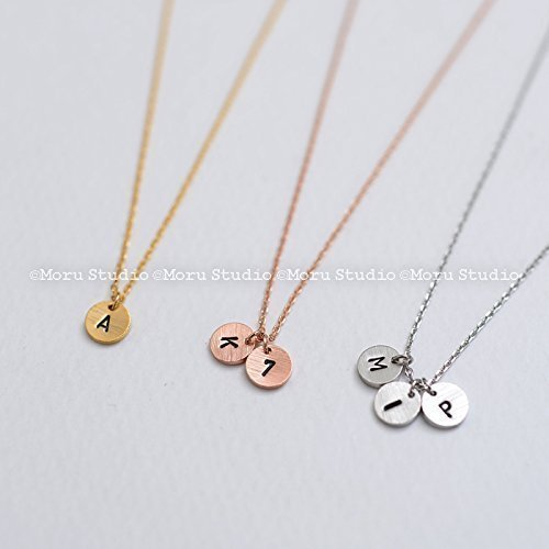Personalized Mini Initial Coin Necklace/ Initial Mini Disc Monogram/ Dainty Circle Tag/ Round Monogram Hand Stamped Necklace ()