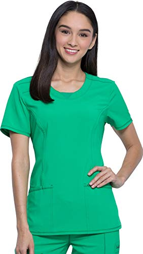 CHEROKEE Infinity 2624A Women's Round Neck Top, Bright Green, Small
