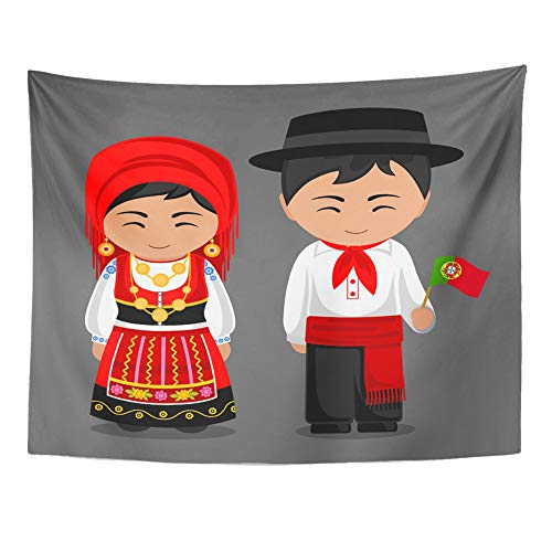 Emvency Tapestry Wall Hanging Portuguese in National Dress