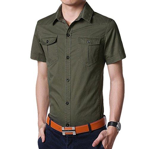 WSLCN Homme chemise de loisire Manches Courtes Chic Couleur Unie Vert armée Fr XXL