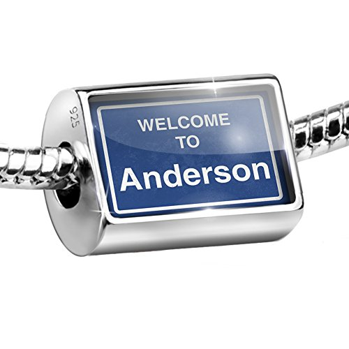 Anderson Sterling Silver Charm - NEONBLOND Sterling Silver Bead Sign Welcome to Anderson Charm Fits All European Bracelets