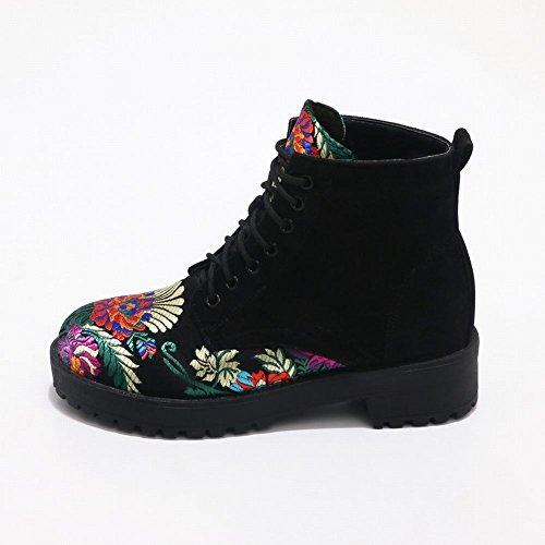Latasa Kvinners Floral Blonder-up Korte Oxford Boots Black ...