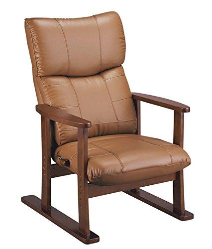 国産 立ち座りの楽な スーパーソフトレザー張り 高座椅子 YS-1800HR (大河/たいが) (ブラウン) B01A9YHD88 ブラウン