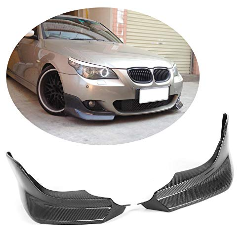 (MCARCAR KIT Front Bumper Splitter fits BMW 5 Series E60 M Sport Sedan 2004-2010 Customized 520i 523i 525i 528i 530i 535i 540i 545i 550i M-Tech Carbon Fiber CF Moulding Upper Spoiler Winglets Vents Cov)