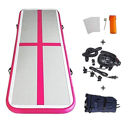 EZ GLAM Inflatable Tumbling Gymnastic Air Floor Mat Track Cheerleading for Home Use/Cheerleading/Beach/Park and Water (Pink)