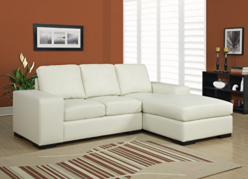 Monarch Specialties Ivory Bonded Leather/Match Sofa Lounger, (Ivory Leather Match)