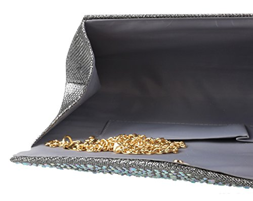Design Handbags Grey Girly Gemstones Bag Clutch pgEaxqfw