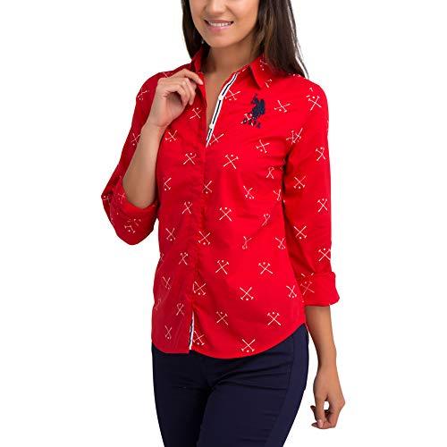 U.S. Polo Assn. Womens Long Sleeve Printed Mallot Poplin Woven Button Down Shirt with Big Pony - Scarlatta Red, Extra Small