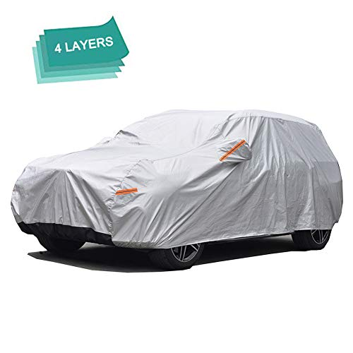 GUNHYI Suv Car Cover For Automobiles Waterproof All Weather, 4 Layer Heavy Duty Cover Sun uv Protection, Universal Fit Suv (Length 177-190 Inch)
