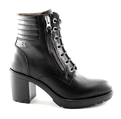 BLACK JARDINES 16522 negro mujer botas botas de cordones de tacón zip anfibio Nero