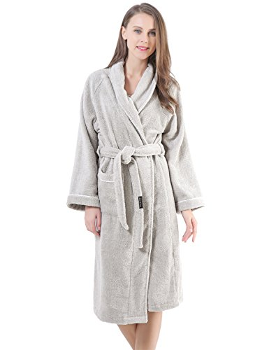 (Terry Cotton Cloth Plush Kimono Bathrobe, Soft, Thick, Long Size, Bath Shower Spa Robes for Women M Gray)