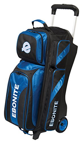 Ebonite Equinox Triple Roller Bowling Bag, Black/Blue Review