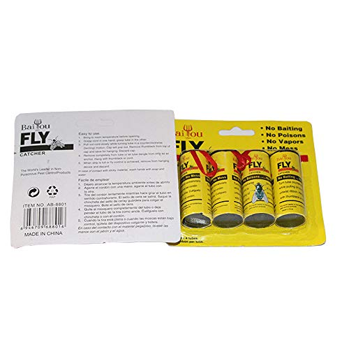 HOUTBY 4 X Insect Bug Fly Hanging Glue Catcher Trap Ribbon Tape Strip Sticky Flies Rolls Paper Bait