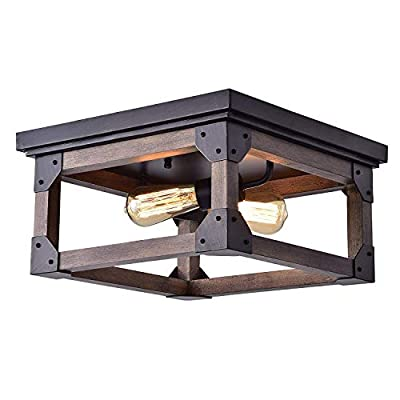 Jojospring Larissa Black Wood Industrial Square 2-Light Flush-Mount Fixture