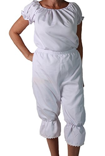 Making Believe Girls/Women's Basic Pioneer Peasant Costume Bloomers (Women's Medium 6/8, White) by Making Believe (Image #1)