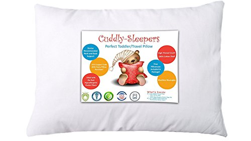 Cuddly Sleepers 100% Hypoallergenic Toddler Pillow w/ TWO FREE PILLOWCASES! Dr. Recommended. Made in USA. -