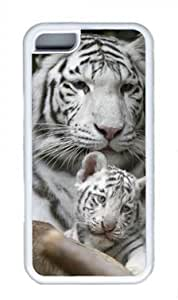 Tiger with his baby Custom Rubber(TPU) white Case for Masterpiece Limited Design iphone 5C by Cases & Mousepads