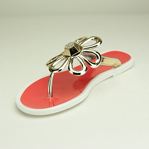 Women 4 on Red Flat Flops Slip Sandals Chemistry FLO Flip Shoes nOf6gFqxYw