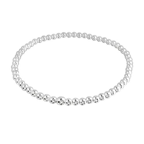 AeraVida Charming 3 mm Simple Beaded Link Elastic Sterling Silver Beads Stretch Bracelet