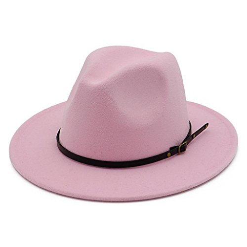 - Lisianthus Women Belt Buckle Fedora Hat Pink