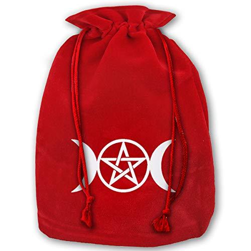 NYSOUVENIRS Bag Triple Moon Pentacle Pagan Merry Christmas Drawstring Beam Port Canvas Storage Bag Gift Bag Hometom Christmas -