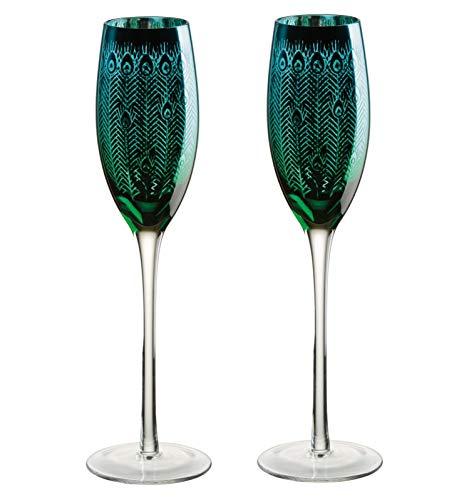 DRH Artland Glass Peacock Champagne Flutes Flute Glasses Set of 2 | Lustre Metallic Shimmer Sparkling Wine Glasses -