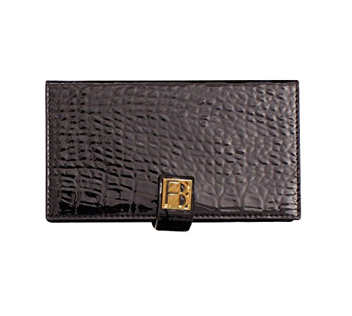 Curved Profile Collection (Sleek Magnetic Makeup Clutch Handbag: Black Cosmetic Organizer with Mirror, Wallet, and Phone Case - Black Textured Vegan Leather, Silk Fabric Lining, Magnetic Base, Travel Accessory)