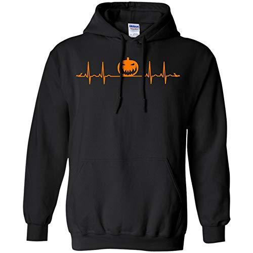 Pumpkin Heartbeat Halloween T-Shirt Costumes Men Women Gift Tee (Hoodie;Black;5XL) -