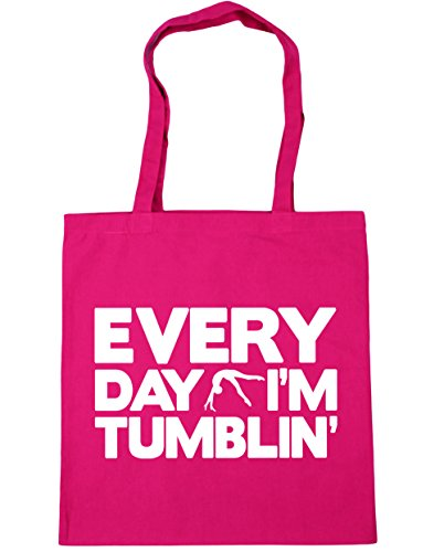 HippoWarehouse x38cm Gym I'm 42cm litres Bag Fuchsia Tumblin' 10 Shopping Gymnastics Beach Tote Everyday rAfqvarw