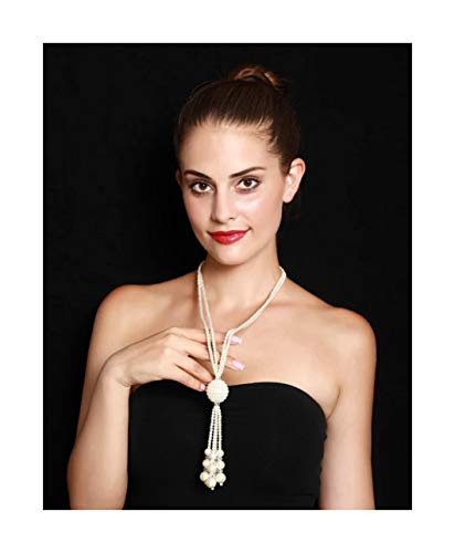 Strand Necklace Tassel (Nataliya Long Pendant Necklace (Pearl Bead Multi Strand Tassel Necklace))