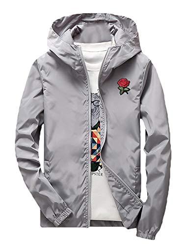ZOXO Men's Rose Floral Windbreaker Hooded Jacket Lightweight Solid Color Casual Zip-up Flower Coat Large Grey