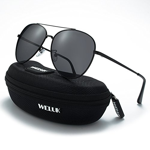 5b663b6052 WELUK Classic Aviator Sunglasses Men Women Metal Driving Pilot Fishing  Glasses (Black   Grey