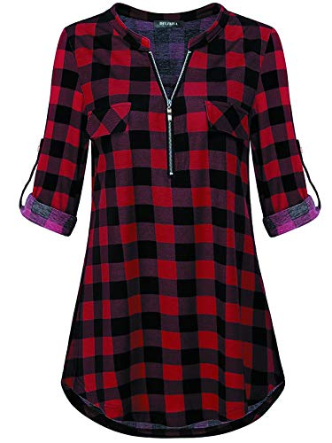 Long Sleeve Plaid Shirts,V Neck Henley Oversized roll Sleeve Blouses Plus Size Causal Loose Soft Dressy Clothes Red L ()