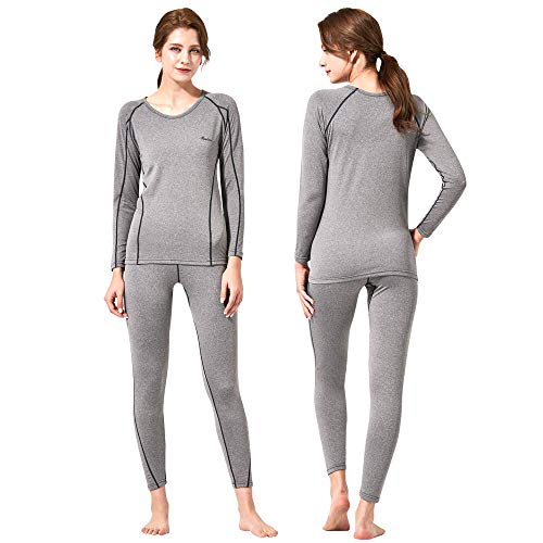 Feelvery Women's HEATPRO Active Performance Long Johns Thermal Underwear Set with Excellent Soft Warm Fleece Lined (Large, Melange Gray)